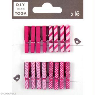 Mini pince à linge Toga 3 cm - Rose fuchsia - 16 pièces