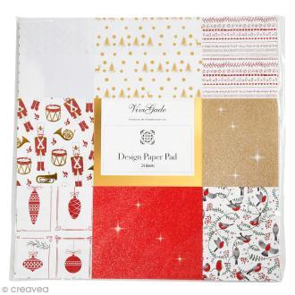 Papier scrapbooking Vivi Gade - Noël Brillant - 30 x 30 cm - 24 pcs