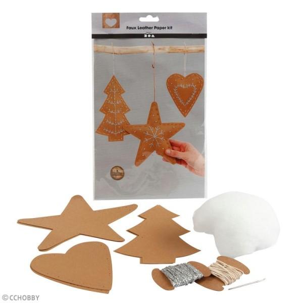 Set de décorations de Noël en papier imitation cuir - Naturel - 3 pcs - Photo n°2