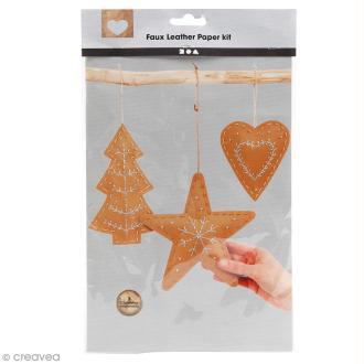 Set de décorations de Noël en papier imitation cuir - Naturel - 3 pcs