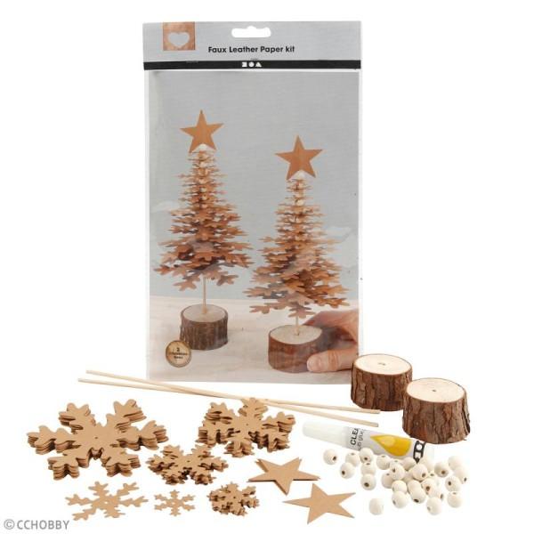 Kit sapins de Noël en papier imitation cuir - Naturel - 2 pcs - Photo n°2