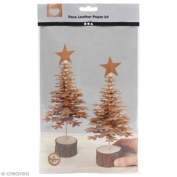 Kit sapins de Noël en papier imitation cuir - Naturel - 2 pcs - Photo n°1