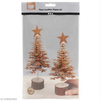 Kit sapins de Noël en papier imitation cuir - Naturel - 2 pcs