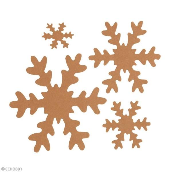Flocons de neige décoratifs en papier effet cuir - Naturel - 3 à 10 cm - 16 pcs - Photo n°2