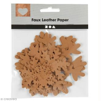 Flocons de neige décoratifs en papier effet cuir - Naturel - 3 à 10 cm - 16 pcs