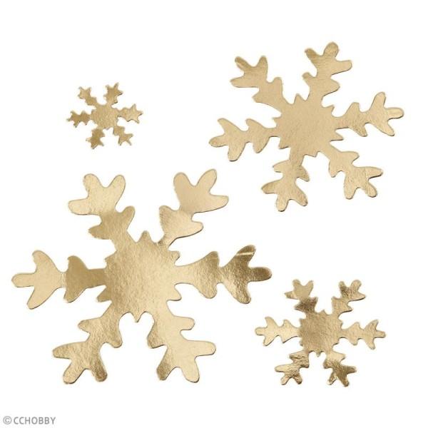 Flocons de neige décoratifs en papier effet cuir - Doré - 3 à 10 cm - 16 pcs - Photo n°2