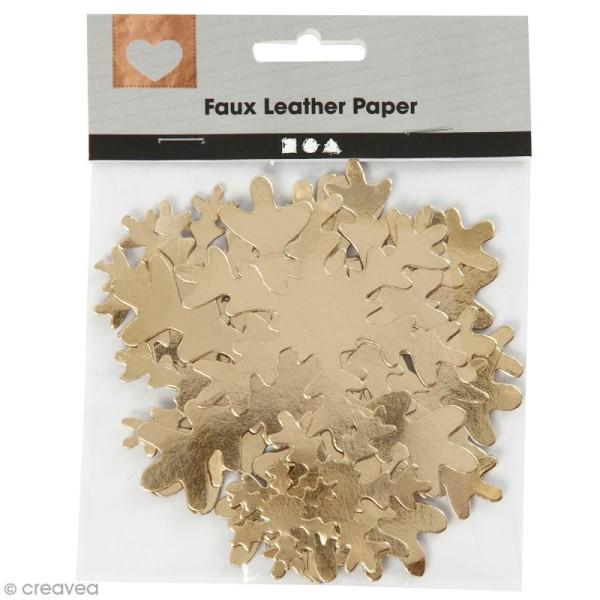 Flocons de neige décoratifs en papier effet cuir - Doré - 3 à 10 cm - 16 pcs - Photo n°1
