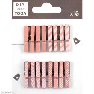 Mini pince à linge Toga 3 cm - Rose - 16 pièces