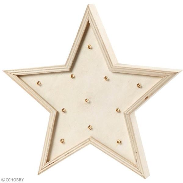 Forme LED en bois à décorer - Etoile - 26 x 26 cm - Photo n°3