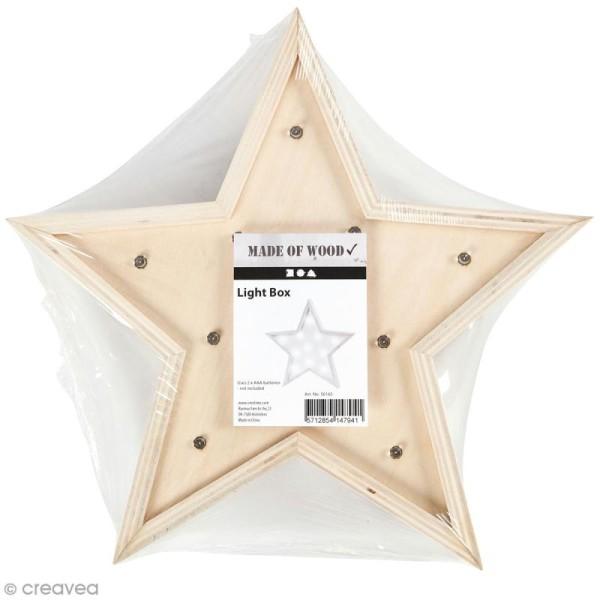 Forme LED en bois à décorer - Etoile - 26 x 26 cm - Photo n°1