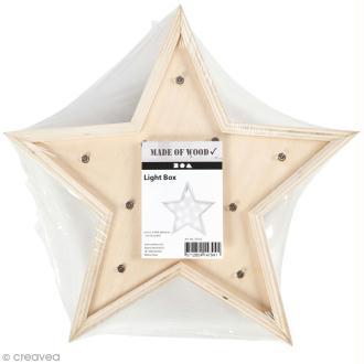 Forme LED en bois à décorer - Etoile - 26 x 26 cm