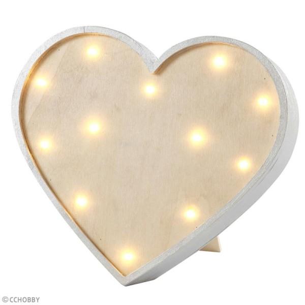 Forme LED en bois à décorer - Coeur - 23,5 x 26 cm - Photo n°3