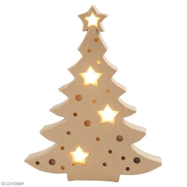 Lampe LED en papier mâché - Sapin de Noël - 21,5 x 27 cm - Photo n°2