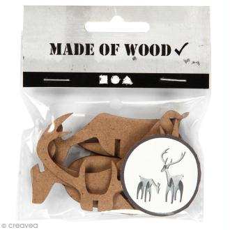 Figurines 3D en bois à monter et décorer - Cerf et biche - 5 et 12,5  cm - 2 pcs