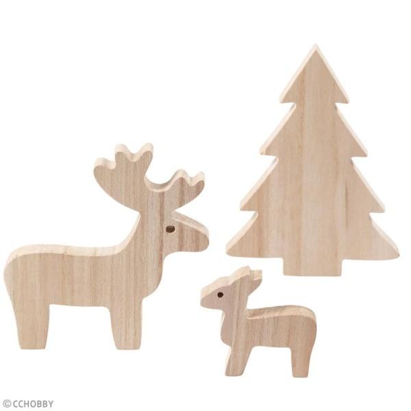 Figurines en bois à décorer - Cerf et sapin - 6 à 15 cm - 3 pcs - Photo n°2