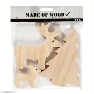 Figurines en bois à décorer - Cerf et sapin - 6 à 15 cm - 3 pcs