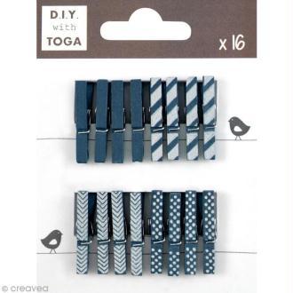 Mini pince à linge Toga 3 cm - Bleu marine - 16 pièces