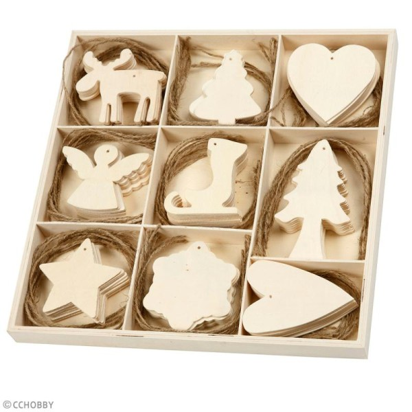 Assortiment de formes en bois à suspendre - Noël  - 7 à 8 cm - 72 pcs - Photo n°2