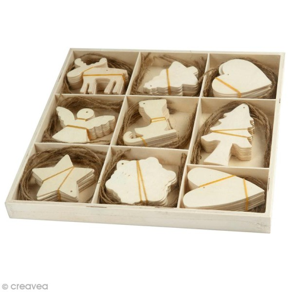 Assortiment de formes en bois à suspendre - Noël  - 7 à 8 cm - 72 pcs - Photo n°1