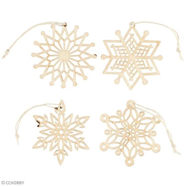 Assortiment de formes en bois à suspendre - Flocons de neige - 7 cm - 8 pcs - Photo n°2