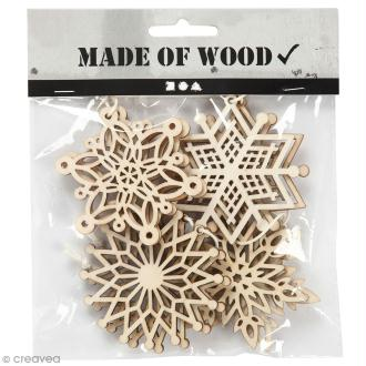 Assortiment de formes en bois à suspendre - Flocons de neige - 7 cm - 8 pcs
