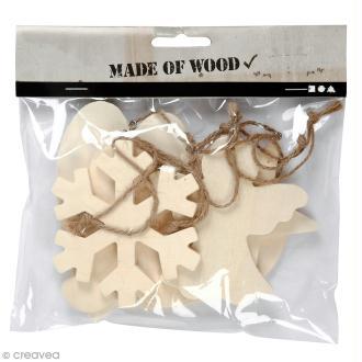 Assortiment de formes en bois à suspendre - Ornements de Noël - 9 à 11 cm - 6 pcs