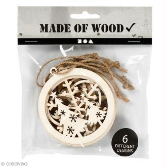 Assortiment de formes en bois à suspendre - Boules de Noël ajourées - 8 cm - 6 pcs