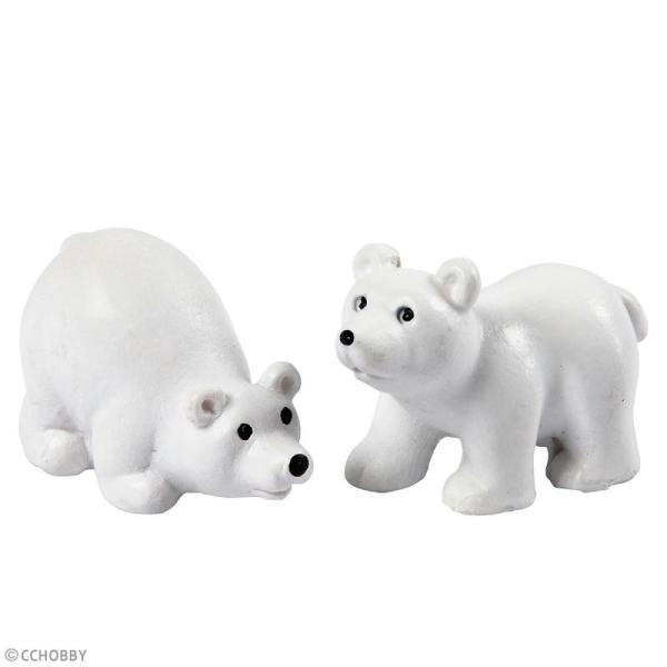 Décoration miniature - Ours Polaires - 3 x 4,5 cm - 2 pcs - Photo n°2