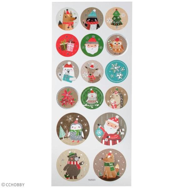Stickers papier - Personnages de Noël - Détails argentés - 16 pcs - Photo n°3