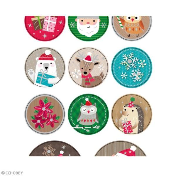 Stickers papier - Personnages de Noël - Détails argentés - 16 pcs - Photo n°5