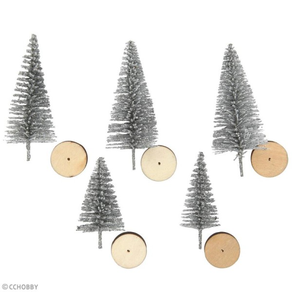 Lot de mini Sapins Argentés décoratifs - 4 à 6 cm - 5 pcs - Photo n°2