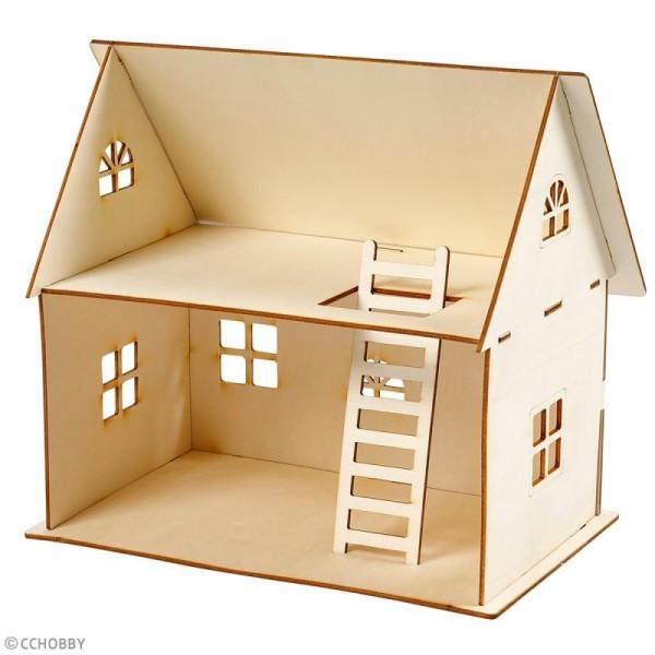 Set maquette 3D en bois à décorer - Maison de poupée - 18 x 27 x 25 cm - Photo n°2