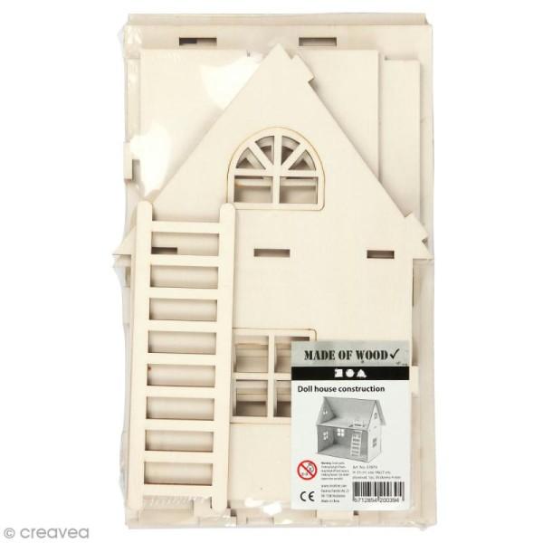Set maquette 3D en bois à décorer - Maison de poupée - 18 x 27 x 25 cm - Photo n°1