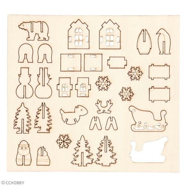 Set maquette 3D en bois à décorer - Traîneau du Père Noël - 15,5 x 17,5 cm - Photo n°2