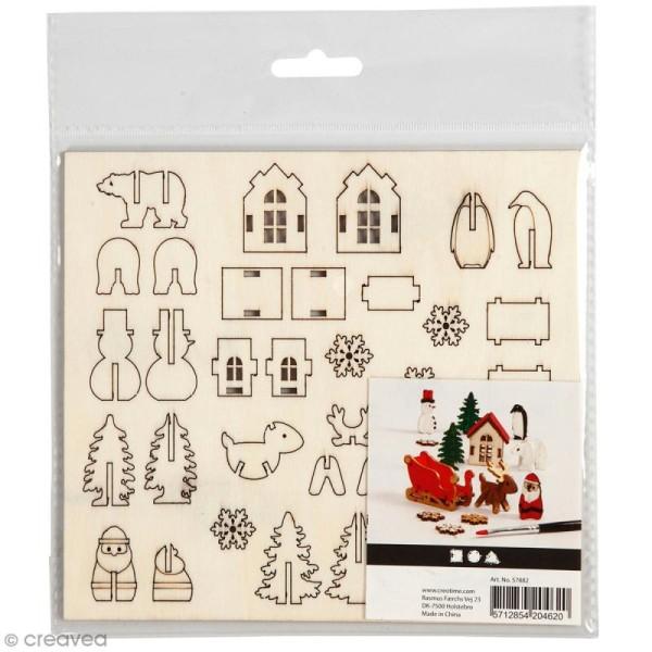 Set maquette 3D en bois à décorer - Traîneau du Père Noël - 15,5 x 17,5 cm - Photo n°1