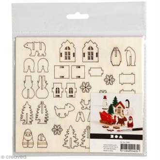 Set maquette 3D en bois à décorer - Traîneau du Père Noël - 15,5 x 17,5 cm