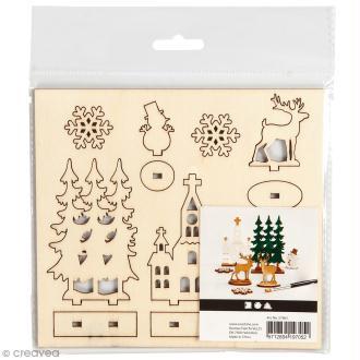 Set maquette 3D en bois à décorer - Eglise et sapins de Noël - 15,5 x 17,5 cm