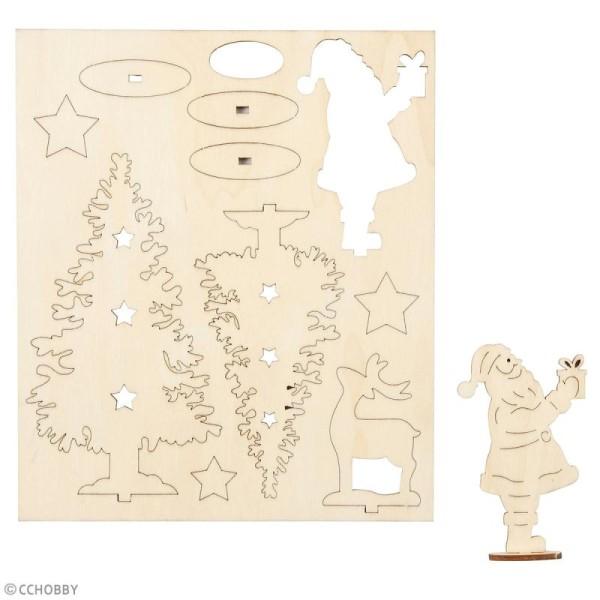 Set maquette 3D en bois à décorer - Saint Nicolas et sapins de Noël - 15,5 x 17,5 cm - Photo n°2