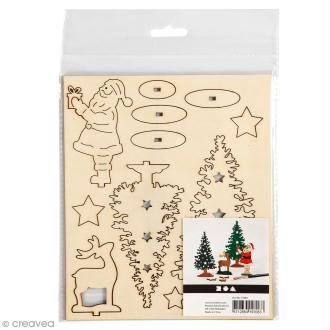 Set maquette 3D en bois à décorer - Saint Nicolas et sapins de Noël - 15,5 x 17,5 cm