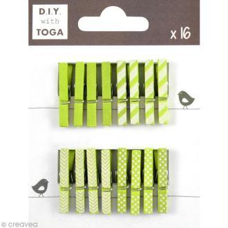 Mini pince à linge Toga 3 cm - Vert - 16 pièces