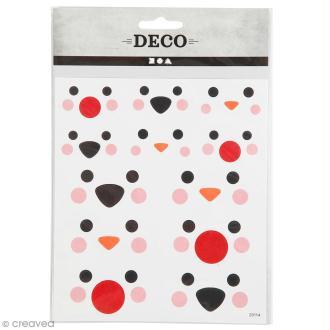 Stickers papier - Yeux et nez d'animaux - 60 pcs