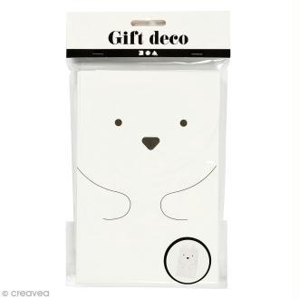 Sachet cadeau papier - Ours polaire - 12 x 18 cm - 6 pcs