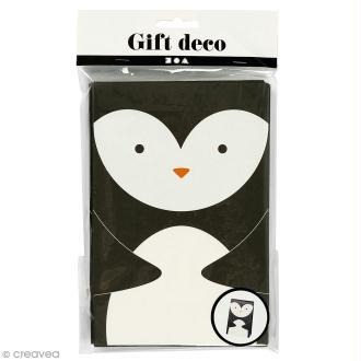 Sachet cadeau papier - Pingouin - 12 x 18 cm - 6 pcs