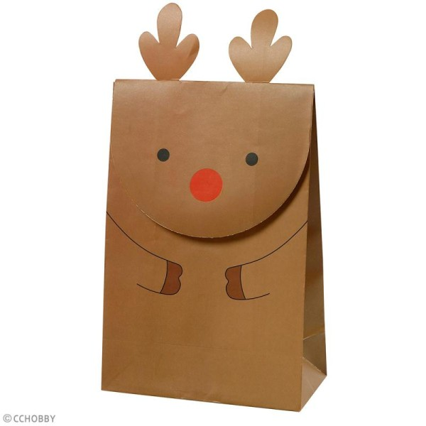 Sachet cadeau papier - Renne de Noël - 12 x 18 cm - 6 pcs - Photo n°2