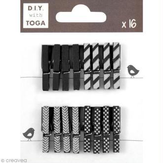 Mini pince à linge Toga 3 cm - Noir - 16 pièces