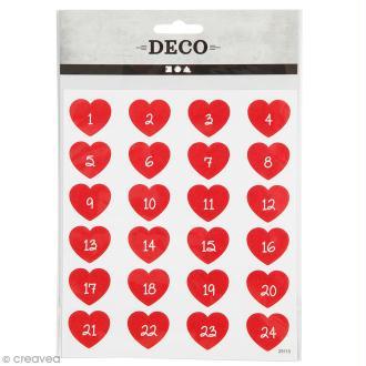 Stickers papier - Chiffres de l'Avent - 24 pcs