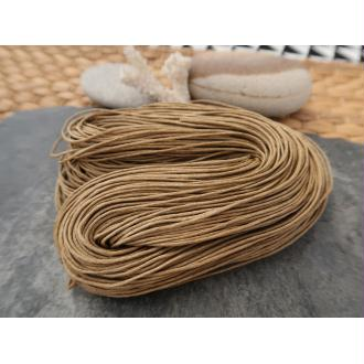 Cordon coton marron clair, cordelette coton ciré, 1 échevau de 80 mètres/1 mm de diamètre