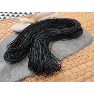 Cordon cordelette coton ciré noir, 1 échevau de 80 mètres/1 mm de diamètre