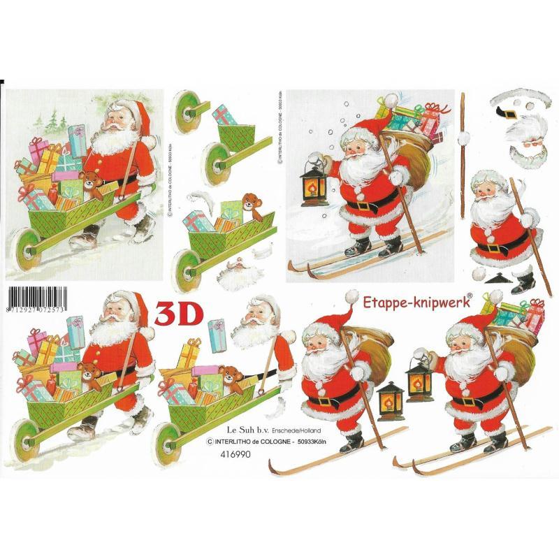 Feuille 3D à découper A4 Père Noël Cadeau Ski - Photo n°1