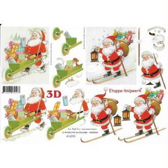 Feuille 3D à découper A4 Père Noël Cadeau Ski